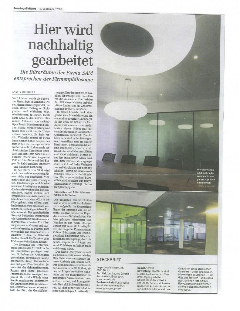 Sonntagszeitung September 2008 - Büroräume SAM