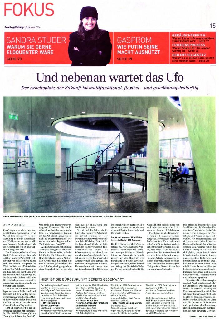 Sonntagszeitung Januar 2006 - Büroräume UBS 1